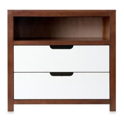 Baby Appleseed /nursery Smart - Karla Dubois OSLO 2-Tone Dresser in White/Coco - The OSLO Dresser features two drawers with removable panels for better organization, deeper cubby holes for more storage space and an unique attachment system that allows for quicker assembly of drawers.