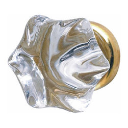 Renovators Supply - Cabinet Knobs Clear Glass 1-1/4'' Dia Cabinet Knob W/ Brass shank | 11040 - Six-sided glass cabinet knob adds a touch of elegance to your decor. 1-1/4 in. diameter knob.
