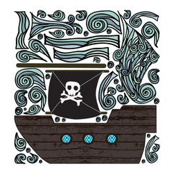 Pop & Lolli - Fabric Decals - Pirate Boat - Dashing & daring, this Pirate Boat is made of wood barrel smells and massive ocean swells. Please note the Cotton Candy Clouds as depicted in the picture are sold separately.  Use as a single design for simple fun, or combine various favorites to add some funky & spunky to any room for an interactive experience. \