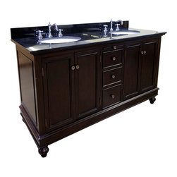 Kitchen Bath Collection - Bella 60-in Double Sink Bath Vanity (Black/Brown) - This bathroom vanity set by Kitchen Bath Collection includes a brown cabinet, soft close drawers, self-closing door hinges, black granite countertop, double undermount ceramic sinks, pop-up drains, and P-traps. Order now and we will include the pictured three-hole faucets and a matching backsplash as a free gift! All vanities come fully assembled by the manufacturer, with countertop & sink pre-installed.