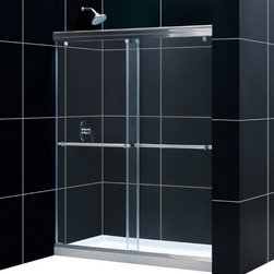 DreamLine - DreamLine Charisma Frameless Bypass Sliding Shower Door and SlimLine - This DreamLine shower kit offers the perfect solution for a bathroom remodel or tub-to-shower conversion project with a CHARISMA frameless bypass shower door and a coordinating SlimLine shower base. The CHARISMA has a  in.no wall profile in. design for the unique combination of a bypass sliding shower door and the beauty of frameless glass. Both frameless doors slide effortlessly across perfectly engineered rails, providing the ability to enter the shower space from either side. The SlimLine shower base completes the picture with a modern low profile design. Items included: Charisma Shower Door and 34 in. x 60 in. Single Threshold Shower BaseOverall kit dimensions: 34 in. D x 60 in. W x 74 3/4 in. HCharisma Shower Door:,  56 - 60 in. W x 72 in. H ,  5/16 (8 mm) clear tempered glass,  Chrome or Brushed Nickel hardware finish,  Frameless glass design,  Width installation adjustability: 56 - 60 in.,  Out-of-plumb installation adjustability: No,  2-panel frameless sliding (bypass) shower door,  Convenient towel bars,  Unique  in.no-wall profile in. design creates frameless look,  Anodized aluminum guide rails,  Door opening: 25 - 29 in.,  Stationary panel: 30 3/4 in.,  Material: Tempered Glass, Aluminum,  Tempered glass ANSI certified34 in. x 60 in. Single Threshold Shower Base:,  High quality scratch and stain resistant acrylic,  Slip-resistant textured floor for safe showering,  Integrated tile flange for easy installation and waterproofing,  Fiberglass reinforcement for durability,  cUPC certified,  Drain not included,  Center, right, left drain configurationsProduct Warranty:,  Shower Door: Limited 5 (five) year manufacturer warranty ,  Shower Base: Limited lifetime manufacturer warranty