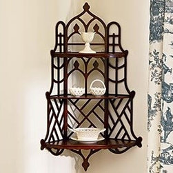 Windsor Fretwork Shelf - The Windsor Shelf is crafted with beautiful, intricate fretwork and delightful details.  Hang it in a corner and display your favorite treasures.  Purchase two and hang them in each corner of the dining room or living room for a more dramatic impact.