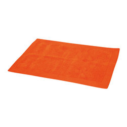 Cotton Velvet Border Bath Rug Orange - This cotton velvet border bath rug is 100% cotton. Ultra-soft and made from a special cotton yarn, this bath rug is extremely durable. Its unique velvet border framing gives a sophisticated look to any bathroom. Manufacturer recommends using a nonskid pad beneath the rug (not included). Machine wash cold and no dryer. Indoor use only. Width 20-Inch and length 31.5-Inch. Color orange. Enhance your bathroom decor with this handsome bath rug and add an understated elegance to your space. Imported.