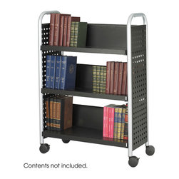 "Safco - Scoot Single Sided 3 Shelf Book Cart - Black - Make your books mobile. The Scoot Book Cart is an all steel cart featuring tubular steel legs and a durable black powder coat finish. Over-sized casters for easy transportation of books and other reference materials. The single-sided cart has three slanted shelves, 12-1/2""D x 12-1/4""H.; Features: Material: Steel; Color: Black; Finished Product Weight: 49.4 lbs.; Assembly Required: Yes; Tools Required: Yes; Limited Lifetime Warranty; Dimensions: 33""W x 14 1/4""D x 44 1/4""H"