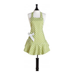 Green & White Polka Dot Josephine Apron by Jessie Steele - I love lime green, but lime green paired with white polka dots on an apron is irresistible. The ruffles and bow also add adorable touches.