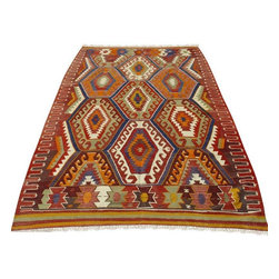 """Pre-owned Exclusive Barak Edition Kilim Rug - 105"""" x 67"""" - This is a vintage kilim rug from tribal areas of Southern Turkey, an area rug found in a dowry chest with no sign of use. It is a 100% handwoven rug woven on wooden loom by flat weave. It was made of finest animal fiber that of wool, on organic cotton fringes. All the fibers were colored with vegetable dyes in the area... It is a vintage item approximately 60 years old.    Care and Maintenance:  Regular vacuum cleaning and/or shaking the rug will remove loose dirt and fluff pile.  Immediate attention is required in case of spills. Liquids should be blotted with a clean undyed cloth, which is to be pressed firmly all around for maximum absorption.    Note from seller: all our rug's are handmade, professionally washed before listed & ready for use. Please kindly note that; the image color may differ from the actual item colors and colors may differ from screen to screen. Make sure to see our other listings...Good luck and happy shopping!"""
