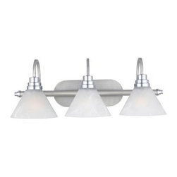 Quoizel Astoria AO8603MN Bath Fixture - 24.5W in. - Millenia - If you're trying to decide between a shiny or matte finish for your bath fixture, you can have the best of both with the Quoizel Astoria AO8603MN Bath Fixture - 24.5W in. - Millenia. With a Millenia finish that combines matte and chrome accents, this bath fixture has clean, contemporary lines and big, bold detailing. The three cone-shaped shades are made of etched alabaster glass, and they require three 100-watt medium base bulbs (not included). Plus, you can install this fixture facing upward or downward.About Quoizel LightingLocated in Charleston, South Carolina, Quoizel Lighting has been designing timeless lighting fixtures and home accessories since 1930. They offer a distinctive line of over 1,000 styles, including chandeliers, lamps, and hanging pendants. Quoizel Lighting is the perfect way to add an inviting atmosphere to any area in your home, both indoors and out.