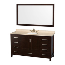 "Wyndham Collection - Sheffield 60"" Espresso Single Vanity w/ Ivory Marble Top & Undermount Oval Sink - Distinctive styling and elegant lines come together to form a complete range of modern classics in the Sheffield Bathroom Vanity collection. Inspired by well established American standards and crafted without compromise, these vanities are designed to complement any decor, from traditional to minimalist modern. Available in multiple sizes and finishes."