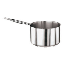 """Paderno World Cuisine - Stainless Steel 3 Quart Sauce Pan, No Lid - The 2 7/8 quart stainless steel sauce pan with claded aluminum staianless steel bottom is commonly used for heating sauces and reducing liquids.; Exterior And Interior Satin Polished Finish With Ergonomic Stay Cool Hollow Handles; Thermo Radiant Stainless Steel/Aluminum/Stainless Steel Bottom, Concave When Cold And Perfectly Flat Upon Heating; Lipped Non Dripping Edges; NSF Approved; Induction ready; Weight: 2.1 lbs; Made in Italy; Dimensions: 4.25""""H x 14.25""""L x 7.12""""W"""