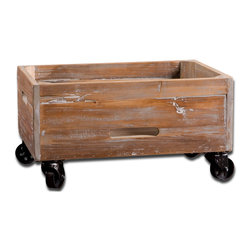 Uttermost - Stratford Reclaimed-Wood Rolling Box - Weathered, reclaimed fir wood sanded and sealed with a light gray wash. Bulbs Included: No
