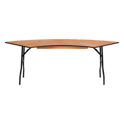 "Flash Furniture - 7.25 ft. x 2.5 ft. Serpentine Wood Folding Banquet Table - This semi-circular wood folding table allows you to create a serpentine, half circle or full circle table. The serpentine table allows you to create beautiful arrangements for weddings, banquets and other events. Create a serpentine table by placing two tables in alternate directions. Create a half circle or full circle by placing two or four tables together from end-to-end. When no longer needed quickly fold the legs underneath tabletop and store away until the next event. Commercial Grade Folding Table; Create a Serpentine, Semi Circle or Full Circle Configuration; 60"" Radius and 30"" Width; 350 lb. Static Load Capacity; .5"" Thick Plywood Top; Black T-Mold Edge Band; Black Powder Coated Wishbone Legs; 18 Gauge Steel Legs; Non-Marring Foot Caps; No Assembly Required; Overall dimensions: 30""W x 60""D x 30.25""H"