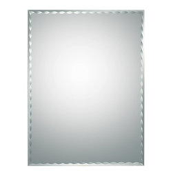 None - Madeline Modern Bathroom Mirror - Strike a pose in front of this stylish and super modern frameless wall mirror with a deep scallop bevel border. This mirror is perfect for a hallway, living room or bathroom.