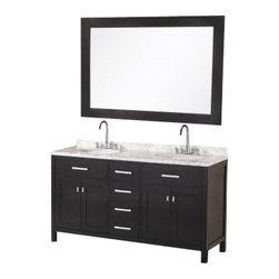 "Design Element - Design Element DEC076A London 61"" Double Sink Vanity Set in Espresso - Design Element DEC076A London 61"" Double Sink Vanity Set in Espresso"