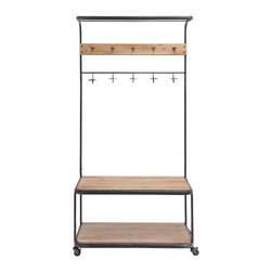 Hang and Roll Rack - Bringing rustic wood-and-metal schoolhouse style to your home, this rack is a creative way to add storage while taming a busy entryway. The shelves can be used for household storage or shoes, while the assorted hooks above keep bags and coats in check.