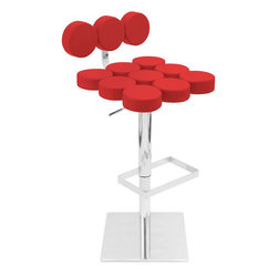 """Lumi Source - Telia Bar Stool in Red - Artistic! Modern! Stylish! This bold, eye-catching design is the latest in contemporary design. Made for both aesthetics and comfort, this chair has it all! The seat is made of plush, round cushions encased in sleek leatherette. Features include a hydraulic system and a 360-_ swivel. In your kitchen, bar, office or lounge, make this stool a part of your home today!; Color: Red; Seat Height: 24 - 32""""; Weight: 39 lbs; Dimensions: 17.5""""L x 19.5""""W x 32- 40""""H"""