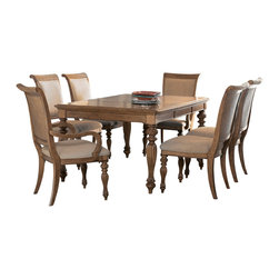 American Drew - American Drew Grand Isle 7 Piece Leg Dining Room Set in Amber - 7 Piece Leg Dining Room Set in Amber belongs to Grand Isle Collection by American Drew The Grand Isle Collection is a lifestyle bedroom and dining room group that offers high end, yet casual up to date tropical style with multiple options for any room of the home; creating a collection that is perfect for many homes, vacation homes or even smaller size vacation condos. The amber finish has a warm overtone with subtle dark burnished accents that make the natural soft distressing show through. Design elements used in Grand Isle include carved and shaped pilasters, woven drawer fronts and a louver motif; all adding a higher end look to the collection. This collection is sure to add a relaxed, yet sophisticated style to most homes and offers plenty of options to help with storage and organization. Leg Dining Table (1), Arm Chair (2), Side Chair (4)