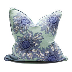 Blackband Design - Teal and Blue Floral Pillow - Custom pillow by Blackband Design.