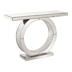 www.essentialsinside.com: mirrored console table with circular base - Mirrored Console Table with Circular Base by Uttermost, available at www.essentialsinside.com