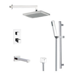 Remer - Thermostatic Square Tub and Shower Faucet with Slide Rail - Thermostatic diverter.