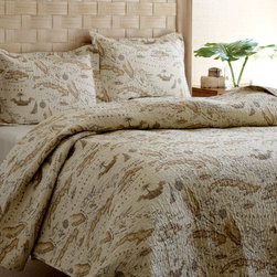 """Tommy Bahama - Map Quilt Set - Features: -Available in Twin, Full / Queen or King sizes. -Includes quilt and standard sham. -Twin size set includes one standard sham, Full / Queen size set includes 2 standard shams, King size set includes 2 King shams. -Color: Khaki with Map print. -Material: 100% cotton. -Bound edges. -Reversible. -1"""" Vertical chanel quilt stitch. -Add the extra layer in the cool weather or use alone during the warmer months. -Machine washable."""