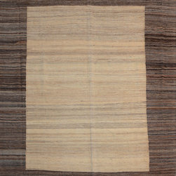 "ALRUG - Handmade Beige Oriental Kilim  8' x 9' 11"" (ft) - This Afghan Kilim design rug is hand-knotted with Wool on Wool."