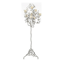 Z Gallerie - Albero Candelabra - The ultimate in elegance, the Albero candelabra will complete a room with panache. Available exclusively at Z Gallerie, this floor candelabra is beautifully crafted of heavyweight iron, forged to create a theatrical tangle of branches and leaves, and is hand finished in antiqued silver leaf. Its an accessory that will certainly take center stage, measuring 75H x 23 x 14. Weve shown it here with 3 pillar candles, but its effective with votives or tea light candles as well. Candles not included.