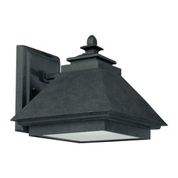"""Capital Lighting - Dark Sky Wall Lantern - Rustic Iron - Standard - Dark Sky 1-Light Outdoor Wall Lantern.  Available Standard or Energy Saver.  Rustic Iron Finish with Acid Washed Glass Lens.  Standard fixture takes one 100W Candelabra bulb.  Energy Saver takes one 18W GU24 bulb, bulb included.  UL Listed.  Rated for Damp Environments.  Backplate: 5 3/4"""" w x 7 1/2"""" h"""