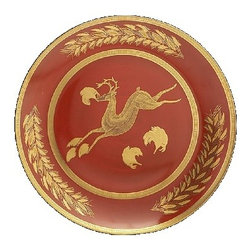 Mottahedeh - Mottahedeh | Leaping Reindeer Luncheon Plate S/2 - Red with Gold leaping Reindeer