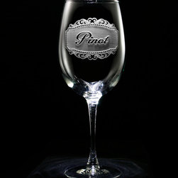 "Crystal Imagery, Inc. - Pinot Wine Glass, Engraved Wine Glass Set of 2 - Our engraved Pinot Wine Glass set of 2,  is a unique gift for the wine lover or wine connoisseur. Our in house designers have created this beautiful design in which our master carvers will carve out the background panel, leaving the lettering and design raised from the wine glass in a three dimensional manner. If Pinot wine isn't your favorite, be sure to check our shop for many other specific wine type glasses from which you can choose, or buy a set of the entire collection of eight! At 9"" high by 3.5"" wide, our wine glasses hold 19 oz. A set of these etched wine glasses will be the favorite gift at any special gift giving occasion. Dishwasher safe."
