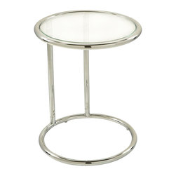 Avenue Six - Avenue Six Yield Glass Circle Table - Avenue Six - End Tables - YLD14 - The Yield End Table by Avenue Six provides a smooth sleek touch for any room in your home. The shiny chrome legs and darkly elegant black glass top ensure that this convenient piece draws the eye; providing an excellent place to display plants and art. Clean style and smooth detail.