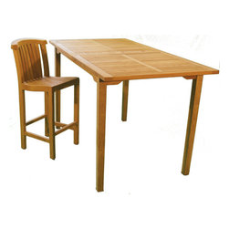 """Teak Arlington 74"""" x 39"""" Bar Table - If you like the Arlington dining table made by Jewels of Java, you will love this bar table.  95 lbs and made to seat 4 to 6 people.  Perfect for the person who love to dine outdoors and likes to be elevated to see the view!"""