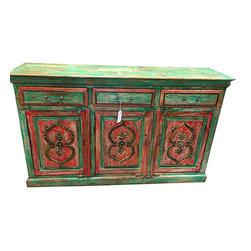 Antique Sideboard Buffet Chest Green Red Patina Dresser - http://www.mogulinterior.com/antique-sideboard-buffet-chest-green-red-patina-dresser.html