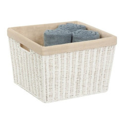 "Parchment Cord Basket W/Liner - Honey-Can-Do STO-03561 Paper Rope Basket with Liner, White. Keep clutter at bay with our paper rope basket with liner. The recycled and repurposed parchment is formed into strap-like fibers, making the basket durable and eco-friendly. The wire frame adds to its strength, and the built-in carrying handles make it easy to transport.  Measuring 13"" L x 15"" W x 10"" H, this basket provides endless storage options for any room of the house and its neutral color matches any decor. The tan liner adds a pop of color in an earthy tone. Coordinates with other paper rope products from Honey-Can-Do."