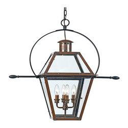 Quoizel Lighting - Quoizel RO1914AC Rue De Royal 4 Light Outdoor Pendant/Chandelier, Aged Copper - Long Description: From the Charleston Copper Lantern Collection, this piece gives you the historic look of gas lighting, but without the hassle of a propane feed. It is all electric, solid copper and hand riveted, giving your home the romantic, reproduction style of antique gas lights still popular today on many of the charming homes in New Orleans and Charleston.