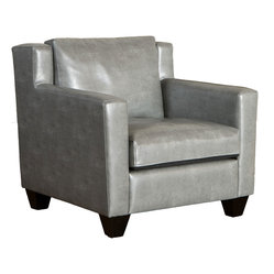 Great Deal Furniture - Chesterfield Gray Leather Club Chair - With its wide stance and overall soft padding, the Chesterfield Gray Leather Club Chair combines contemporary and traditional elements to create one stunning chair. The chair features dark espresso stained legs.