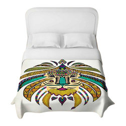 DiaNoche Designs - Emperor Tribal Lion I Duvet Cover - Lightweight and super soft brushed twill duvet cover sizes twin, queen, king. Cotton poly blend. Ties in each corner to secure insert. Blanket insert or comforter slides comfortably into duvet cover with zipper closure to hold blanket inside. Blanket not included. Dye Sublimation printing adheres the ink to the material for long life and durability. Printed top, khaki colored bottom. Machine washable. Product may vary slightly from image.