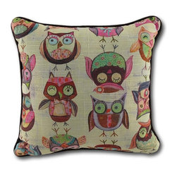 Wendy Bentley `Give a Hoot` Owl Accent Pillow 10 In. - This adorable pillow features an allover owl pattern, designed by Wendy Bentley, called `Give a Hoot!` The back of the pillow has a leafy pattern accented by orange flowers, and the pillow measures 10 inches square. It is 100% polyester, from the colorful cover to the soft stuffing, and recommended care instructions are to dry clean or spot clean, only. It makes a cute gift for an owl collecting friend, and was proudly made in the U.S.A.