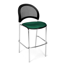 OFM - Moon Cafe Height Bar Stool w Curved Back and Padded Contoured Seat -Set of 2 (Bl - Color: Black. Set of 2 Stools. 16 In-stock colors. Stacks 2 high. Triple Curve seat design. Replaceable stain-resistant seat cushions. Meets of exceeds ANSI/BIFMA standards. Pictured in Shamrock Green. Weight capacity: 250 lbs.. Seat size: 18.5 in. W x 17.5 in. D. Back size: 19 in. W x 16 in. H. Seat height: 31.5 in. . Overall: 22 in. W x 23 in. D x 45 in. H