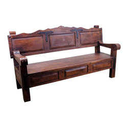 "Mesquite Bench - Mesquite Bench made from solid old mesquite wood and has ornate iron accents. This bench will take center stage no matter where you place it. You can rest assure that no one will have a bench like this. It is a one-of-a-kind, Tres Amigos exclusive. This Mesquite Bench will add rustic charm to any outdoor space or would make a great conversation bench inside your house.  ""Extra Large Packaging fee may apply."
