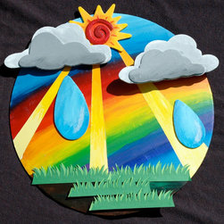 Bright Colorful Sunny Rainbow Rainstorm Wall Decor by Deadly Creative - This handmade mixed-media wall art is a great reminder that even rainy days are beautiful. The seller can create custom pieces as well, so if you prefer your rainbows straight up, you've got it.