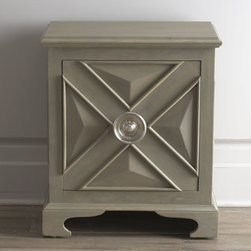 "Global Views - Global Views ""Premont"" Chest - Inspired by an 18th-century design, this petite chest with oversized door pull makes a dramatic statement as it adds storage space. Handcrafted of mango wood with antiqued nickel-plated brass hardware. Finished in light gray stain and matte finish to..."