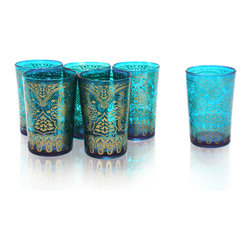 Divine Designs - Set of 6 Turqoise Moroccan Tea Glass - These stunning Moroccan tea glasses offer a new and unique experience to dining and entertaining. The vibrant color and distinguishing design is stylish and designed to impress.