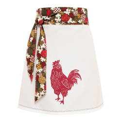 artgoodies - Organic Block Print Rooster Apron - Each organic apron is hand printed with an original hand carved block print by Lisa Price. The band and ties are made of a coordinating vintage-style fabric and the embroidered accent at the bottom sets the fabric off just right! Dazzle your kitchen on any ordinary day or be the cutest hostess ever!