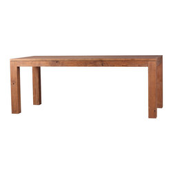 "Moe's Home Collection - Mountain Teak Dining Table - Features: -Mountain Teak collection. -Color: Natural. -Solid teak construction. -Seats 4-6 people comfortably. -1 Year warranty. Dimensions: -30.3"" H x 63"" W x 35.4"" D, 99.2 lbs."