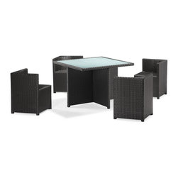 Zuo Modern - Zuo Turtle Beach Table Set in Espresso - Beach Table Set in Espresso belongs to Turtle Collection by Zuo Modern The perfect dining solution for the small deck, the Turtle Beach table set is a smart looking set for space saving and storage; it has four chairs that nest under the table. The frames are constructed from epoxy coated aluminum and the weave from UV treated polypropylene for maximum resistance against the elements. The Table has a 10 mm thick frosted tempered glass top. The chairs are designed with a vector shaped back for versatile support. The glass of the table top is recessed for a clean and smooth serving surface. The best set for enjoying those summer night dinners overlooking the city view. Table Set (1)
