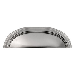 Hickory Hardware - American Diner Stainless Steel Cup Cabinet Pull - Often characterized with clean, sleek lines.  Marked with solid colors, predominantly muted neutrals or bold bunches of color.  An emphasis on basic shapes and forms.
