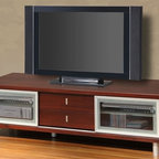 Global Furniture USA | Mahogany TV Console - Modular styling is a great pairing with larger TVs. The low profile cabinet is a blend of center drawer storage and shelving at the ends. Sliding doors with metal accents and glass paning make access convenient to equipment and other entertainment essentials.