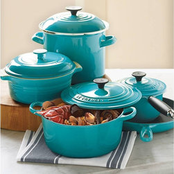 Le Creuset 9-Piece Cookware Set - A great set from the French masters of enameled cast iron. We love Le Creuset and use it more than anything else in our kitchen. This is a good choice of items for a smaller kitchen or family, we tend to use the larger pieces again and again, plenty of leftovers...