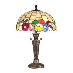 Dale Tiffany - Dale Tiffany TT10956 Billiards Modern / Contemporary Table Lamp - Whether you play billiards or not, you are sure to be delighted by this Billiards table lamp. Alternating squares of light amber art glass sets the stage for the authentically colored 15 billiard and white cue ball which run along the rim of the shade. Both stripes and solids, these colorful balls so resemble the real thing, this lamp is sure to be a conversation starter wherever you display it in your home.