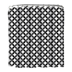Indecor - Black & White Geometric Shower Curtain Set - Bring your décor to life with the stylishly ornate design of this eye-catching fabric shower curtain.   Includes shower curtain and 12 matching roller hooks 100% polyester Imported